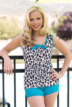 """Finally a fashionable tankini that you can run & play in without worrying about being """"uncovered.""""  """"Jane"""" Modest Vintage-Inspired Tankini Swimwear Top in Cheetah Print"""