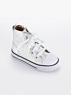 Rock n Roll with glamour with these silver glitter hi top sneakers Girls  High Top Sneakers 6b1021d461a4