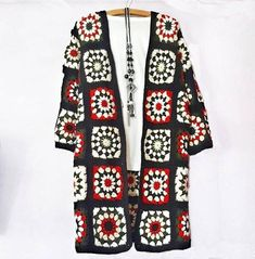 Handmade Patchwork Crocheted Coat / Jacket / Cardigan - 100% Cotton by Mamind Craft This granny square crocheted jacket/cardigan/coat will be a unique place in your wardrobe. Granny square is a kind of design that is always in fashion, and if you prefer that bohemian touch, you will love