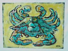 Acrylic Painting on Tar Paper of Crab 18 x 24. $85.00, via Etsy. High Art, Jr High, Crab Decor, Crab Shack, Roofing Felt, Arts Ed, Artsy Fartsy, Paper Art, Turtle