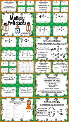 Multiply Fractions Task Card and Poster Set!  Common Core aligned set of cards makes practicing and learning how to multiply fractions fun and easy.  Set includes CC Posters, I Can Posters, Example Posters, 32 Task Cards, Answer Key, and Student Recording Sheet.  Perfect for math centers, Scoot games, or classroom activities!  Perfect for grades 4-6!  Fun stuff!