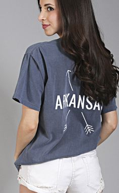3a72f388 charlie southern: state arrow comfort colors t shirt - arkansas [navy]  Preppy Monogram