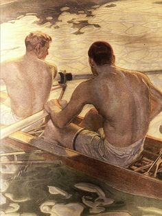 """Leyendecker illustration: """"You are a disgrace to Yale, all of you"""" for """"A Victory Unforeseen"""" by Ralph D. Paine in the July 1905 issue of Scribner's Magazine / photo by Mamluke American Illustration, Art Et Illustration, Artist Painting, Painting & Drawing, Art Masculin, Art Gay, Jc Leyendecker, Art Vintage, Queer Art"""