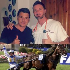 Dr Gabriele Benedetti with the champion Giampaolo Minnucci and #Varenne ❤ the best trotter of history  #doctor #medicine #osteopath #osteopathy #italy