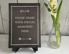 Please Share Your Special Memories Sign - Black. For Funeral Memory Table, Condolence Book, Celebration of Life, Memorial, Remembrance Memory Tree, In Memory Of Dad, Funeral Guest Book, Funeral Planning, Funeral Ideas, Funeral Memorial, Funeral Flowers, Condolences, 90th Birthday
