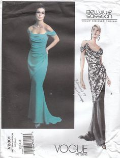 Vogue Designer Original Sewing Pattern Bellville Sassoon Dress Evening Gown 2003 Uncut Size 12-14-16 Fitted Draped