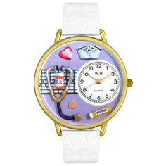 Whimsical Watches Women's G0620042 Unisex Gold Nurse Purple White Skin Leather And Goldtone Watch Whimsical Watches. Save 57 Off!. $40.99. Japanese quartz movement. Gold tone second hand. Plastic crystal; gold tone stainless steel case; leather strap. Nurse design. Comes in gift box