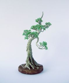 Japanese Chinese Bonsai Tree Wire Beaded Sculpture by NataliaDecor, $55.00
