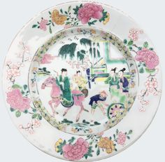 "A Chinese export porcelain famille rose ""Romance of the Western Chamber"" plate. Yongzheng period. China/Asia. Decorated in the famille rose palette, with a scene from Xixiang Ji, the Romance of the Western Chamber."