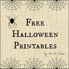 You can find several different designs for cards/invitations and goodie bag tags here: The Pin Junkie: Free Halloween Printables! Retro Halloween, Halloween Cards, Holidays Halloween, Happy Halloween, Halloween Decorations, Halloween Stuff, Halloween Fonts, Preschool Halloween, Halloween Ball