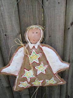 Christmas Angel Burlap Door Hanger by nursejeanneg on Etsy, $28.00