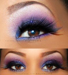 Purple, Blue & Pink eyeshadows with dramatic lashes