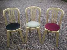 Resin Gold bistro chair.   I'm not quite sure if you can call this a banqueting chair, however some do!   Very cheap,. Not suitable for heavy guests who want to lean back on the rear legs!   Can be used inside and outside.