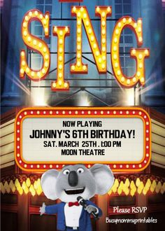 Sing Invitation Sing PersonalizedSing by Busymommyprintables