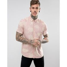 ASOS Regular Fit Viscose Floral Print Shirt In Pink ($29) ❤ liked on Polyvore featuring men's fashion, men's clothing, men's shirts, men's casual shirts, pink, mens rayon shirts, mens viscose shirt, men's flower print shirt, asos mens shirts and mens floral shirts