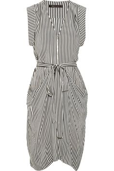 BCBG Draped striped silk dress
