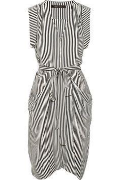 Draped striped silk dress by BCBGMAXAZRIA