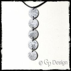 Collier Design - ras cou - Emaux sur cuivre blanc avec inclusion graphite - Texturé - Moderne et original - : Collier par gp-design