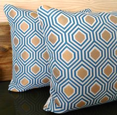 Turquoise and gold geometric decorative pillow  by pillowflightpdx, $28.00