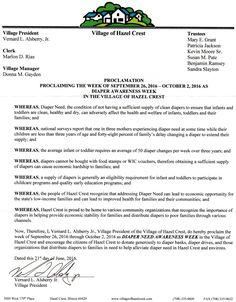 Hazel Crest, Illinois Village President Bernard L. Alsberry Jr.'s Proclamation recognizing Diaper Need Awareness Week (Sept. 26 - Oct. 2, 2016) #DiaperNeed www.diaperneed.org