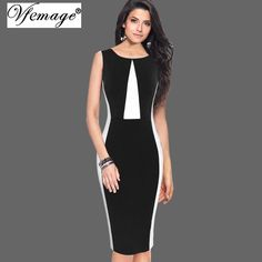 Elegant Optical Illusion Patchwork Contrast Slim Casual Pencil Dress Small  - plus size 4d016a959147