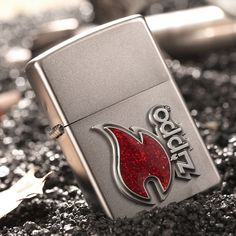 Zippo Windproof Satin Chrome Lighter With Zippo Emblem