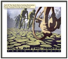 HELL of THE NORTH Paris Roubaix retro styled cycling illustration poster 14X11  Gallery quality Giclée print on natural white, matte, linen