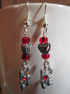 Love Charm Dangle  Earrings with Red Glass by BeadazzlingButterfly, $12.00