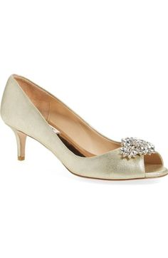 Badgley Mischka 'Nakita II' Kitten Heel Peep Toe Pump (Women) available at #Nordstrom