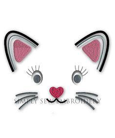 Katze Gesicht Applique--Mädchen oder junge Stickerei Design Maschine Applique Nr. 039