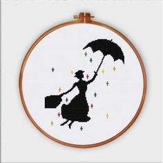 Mary Poppins cross stitch pattern cute cross stitch by ThuHaDesign More