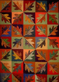 Pat Sloan APQ Block finished all big squares in this quilt. Easy patchwork and a fun quilt to make Batik Quilts, Fall Quilts, Scrappy Quilts, Applique Quilts, Halloween Quilts, Quilting Projects, Quilting Designs, Quilt Modernen, Tree Quilt
