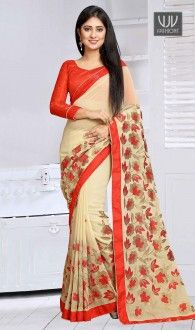 Glossy Georgette Cream,Hot Pink,Blue,Yellow,Green,Orange,Black Lace Work Casual Saree Fashion and pattern would be at the peak of your attractiveness after you dresses this cream georgette casual saree. The ethnic lace work in the attire adds a sign of beauty statement for your look