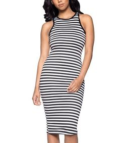 Another great find on #zulily! White & Black Stripe Bodycon Midi Dress  #zulilyfinds