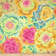 Kaffe Fassett Brassica Yellow from @fabricdotcom  Designed by Kaffe Fassett for Westminister Fabrics, this cotton  fabric is perfect for quilting, apparel and home decor accents. The colors include shades of pink, orange, yellow, blue, purple and green.