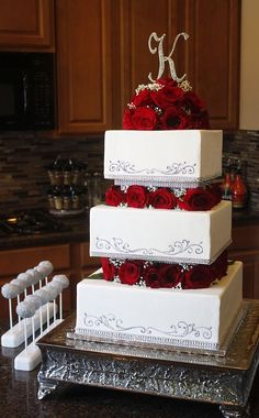 Square Tiered Wedding Cake with Roses & Babies Breath