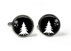 XMAS TREE - Black - Glass Picture Cufflinks - Silver Plated (Art Print Photo AT23) by RosettaLondon on Etsy