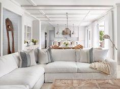 White Beach House Coastal Slipcover Living Room