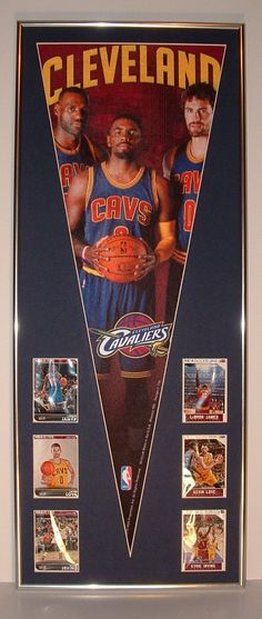 Cleveland Cavaliers Lebron James, Kyrie Irving, Kevin Love Pennant & Cards...Custom Framed!!! by FanaticFrames on Etsy