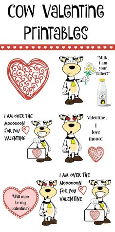 Free cow Valentine's Day printables. These would be fun to use in your kids lunch box or for the valentines you pass out to friends. @horizonorganic #horizonsnacks AD