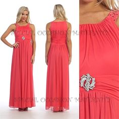 Long Chiffon Maternity Gown with Rhinestones on Shoulder straps. Round neckline. Cute for Bridesmaids.