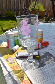 Easy Stenciled Candle Holders