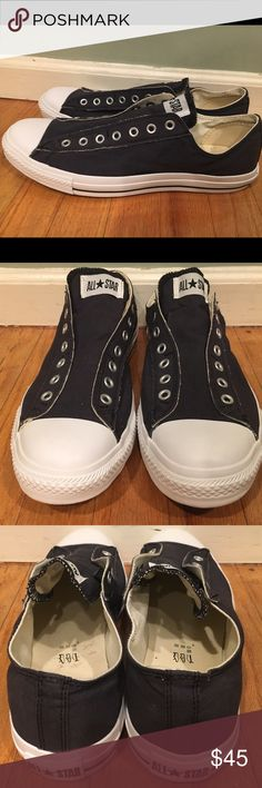 Converse All Star sneakers Converse Chuck Taylor All Star sneakers. Navy Blue - size 13. Canvas material, slip on, laceless, rubber soles. Only worn once, excellent like new condition. Original Box not included! Converse Shoes Sneakers