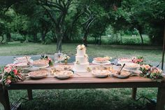 Summer pie dessert table. Photography by Delbarr Moradi Photography | delbarrmoradi.com, Read more - http://www.stylemepretty.com/2013/06/17/dawn-ranch-lodge-wedding-from-delbarr-moradi-photography/