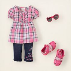 glad for plaid  					our pale pink plaid woven top in a babydoll silhouette will be a go-to favorite all summer long. paired here with adorable embroidered capri jeans, this look is made for stylish playdates