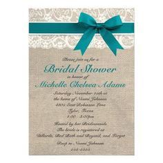Turquoise Lace Burlap Bridal Shower Invitation