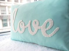This Light Teal Love pillow is a perfect accessory for any room. A beautiful idea for a birthday, anniversary or holiday gift. On this pillows the felt is cut and sewn by hand.