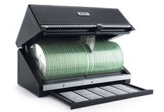 The Auto Retrieval 100 CD Storage System. Can be found for $59.99, originally from Sharper image.