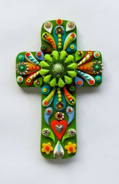 Mexican Style Cross of many colors Decorative Wall Cross Red Vintage Victorian fleur de lis by iluvPiC on Etsy, $53.22 AUD Mosaic Crosses, Wooden Crosses, Crosses Decor, Wall Crosses, Mexican Crafts, Mexican Style, Mexican Folk Art, Old Rugged Cross, Cross Art
