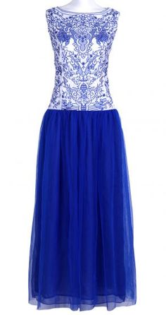 Blue and White Porcelain Lace Dress